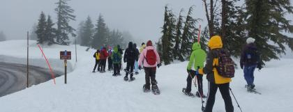 UO students snowshoeing at Crater Lake.